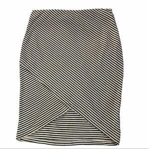 Lush Skirt Wrap Bodycon Striped Ribbed Striped
